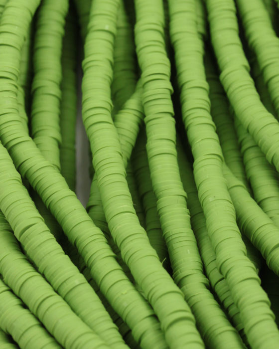 Polymer clay Heishe beads 6mm Apple green
