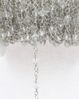 crystal chain twisted brass and crystal clear 4 mm