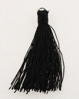cotton tassels with metal ring black