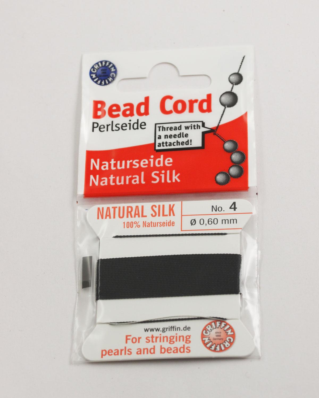 Natural silk cord size 4 (0.60mm) Black