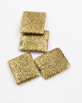 flat square embossed metal beads antique gold