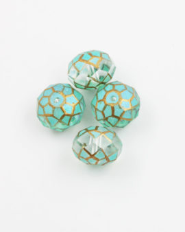 faceted glass rondelle handpainted turquoise