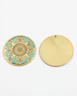 brass round flat pendant turquoise