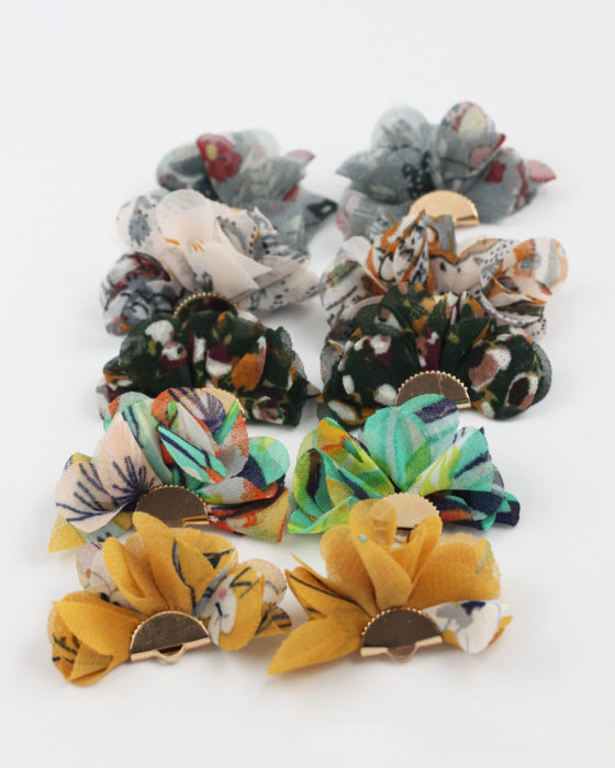 large fabric flower pendants