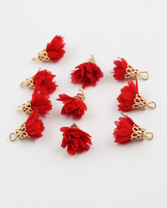small fabric flower red