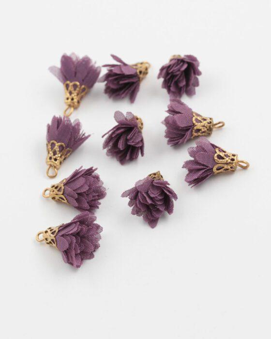 small fabric flower purple