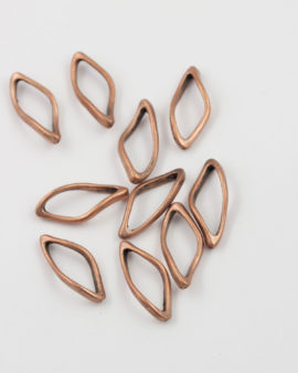 Oval twisted ring 12x28mm antique copper