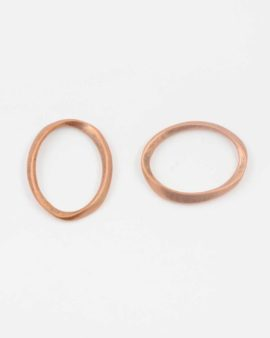 Twisted oval ring antique copper large