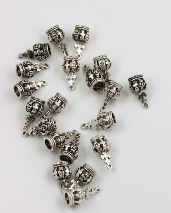 crown charm antique silver