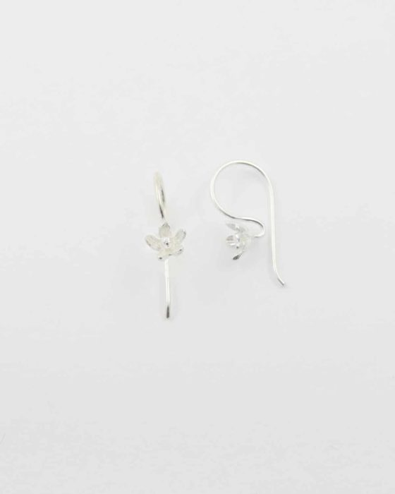 Sterling silver earwire with flower