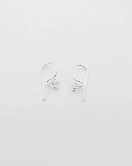Sterling silver earwire with flower 2