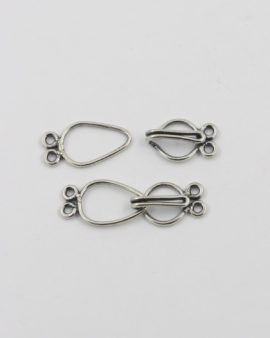 sterling silver hook catch with 2 rings