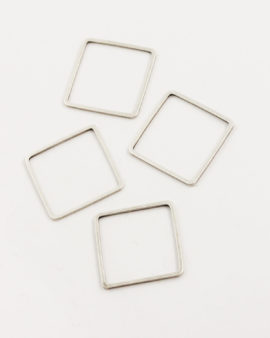 metal square shape 20x20mm antique silver