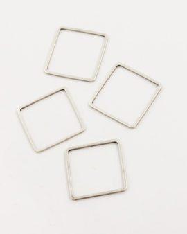 metal square shape 20x20mm antique silver