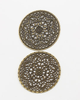 round filigree flat disc 40mm antique brass