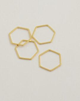 Hexagon metal shape 21x19mm gold