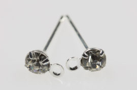 Earpost with rhinestone - Sold per pack of 20 (1=20 pieces )