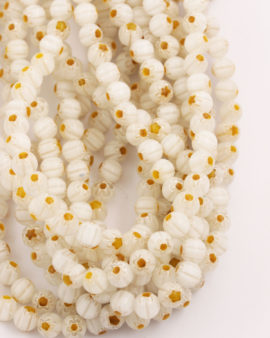 Round Millefiori 6mm White with Mustard flower