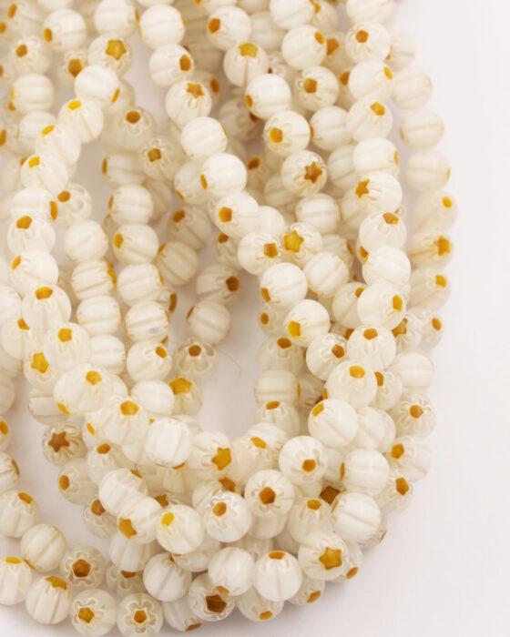 Round Millefiori 6mm White with Mustard flower