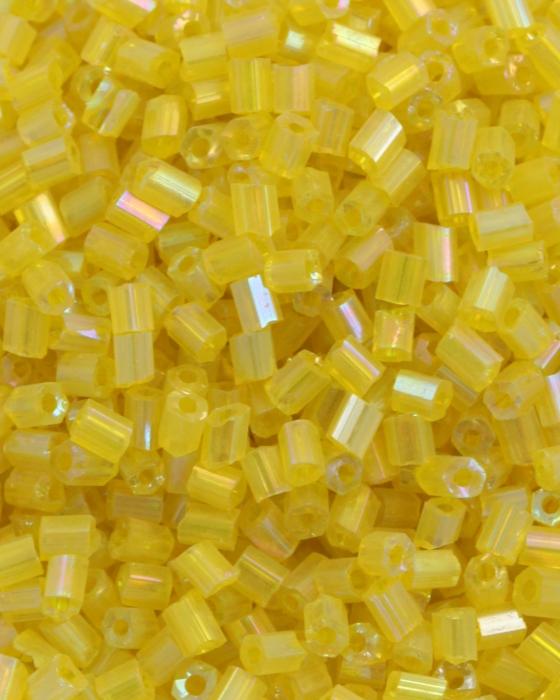 Transparent Bugle Beads approx. 2 mm Yellow Iridescent