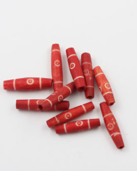 Bone Bead Cylinder Red with Circles 20x7mm