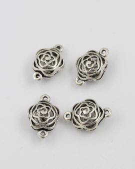 Cut out flower link antique silver