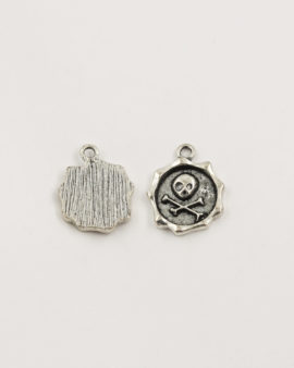 skull and bones charm antique silver