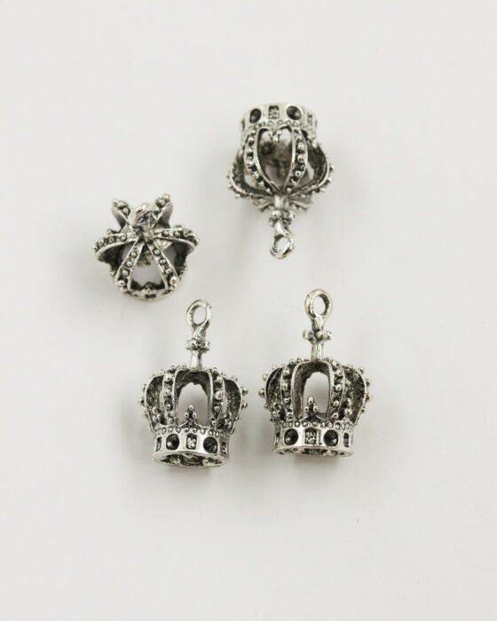 crown pendant antique silver