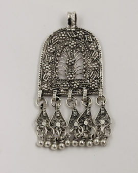oriental pendant with 5 bells antique silver