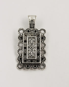 Rectangular oriental pendant 60x30mm antique silver