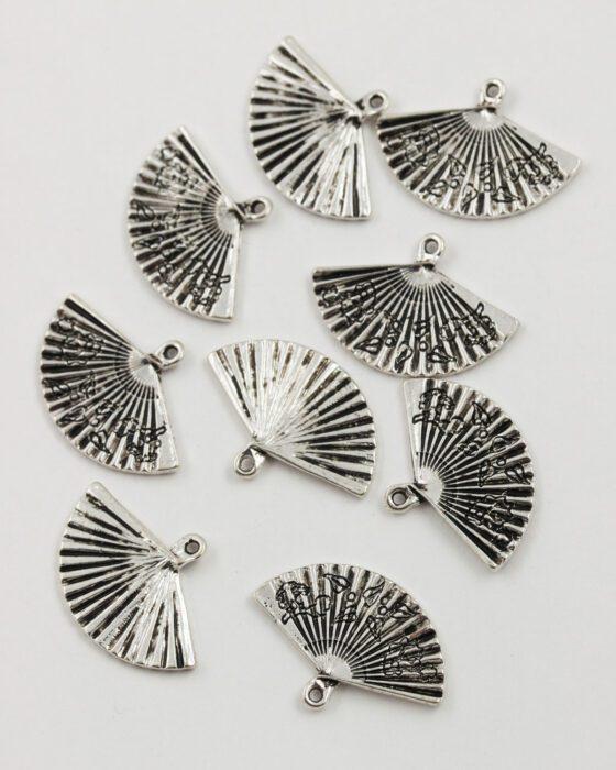 fan charm 25mm antique silver