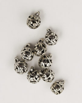 fern ball 8mm antique silver