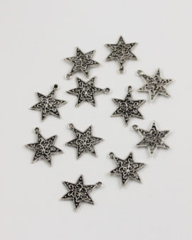filigree star charm 20mm antique silver