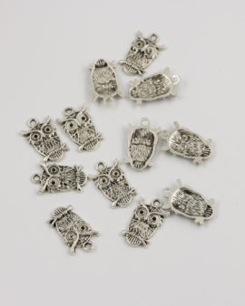 owl charm antique silver