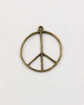 peace sign pendant 30mm antique brass