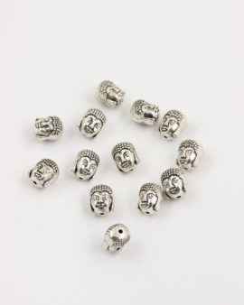 buddha head bead 10mm antique silver