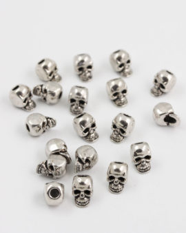 skull bead 10mm antique silver