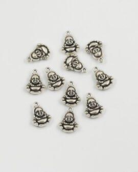 happy buddha charm 19x15mm antique silver