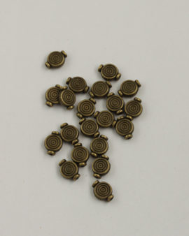 Metal Beads with Circles Pattern 10x8mm antique brass