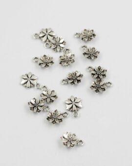 flower charm antique silver