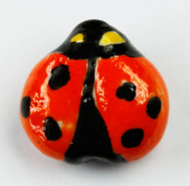 Porcelain Ladybird Beads - Sold per pack of 4 ( 1=4 pieces)