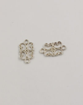 sterling bright silver filigree connector 11x17mm