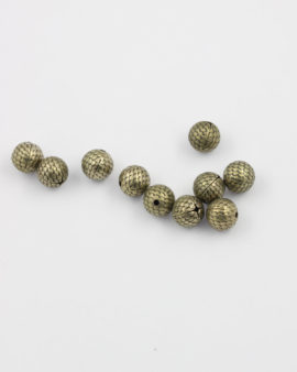round metal bead 9mm antique brass